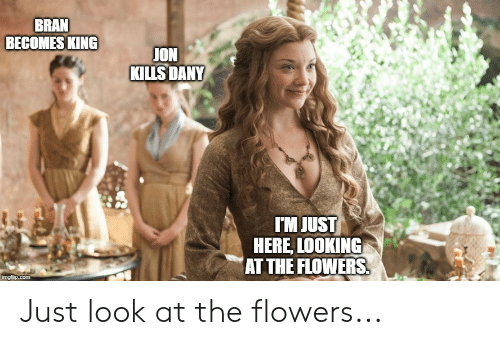 Flowers, Bran, and Looking: BRAN  BECOMES KING  JON  KİLLSDANY  IM JUST  HERE, LOOKING  AT THE FLOWERS Just look at the flowers...