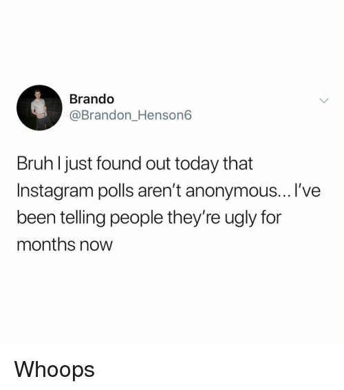 Bruh, Instagram, and Ugly: Brando  @Brandon_Henson6  Bruh l just found out today that  Instagram polls aren't anonymous...l've  been telling people they're ugly for  months now Whoops
