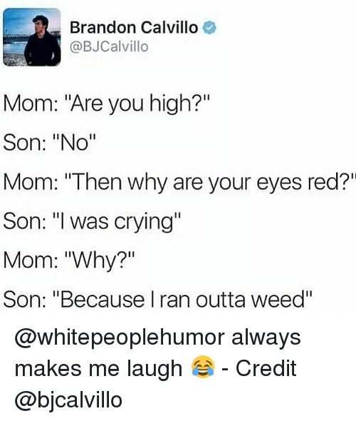 """Crying, Memes, and Weed: Brandon Calvillo  @BJCalvillo  Mom: """"Are you high?'""""  Son: """"No""""  Mom: """"Then why are your eyes red?""""  Son: was crying""""  Mom: """"Why?""""  Son: """"Because I ran outta weed"""" @whitepeoplehumor always makes me laugh 😂 - Credit @bjcalvillo"""
