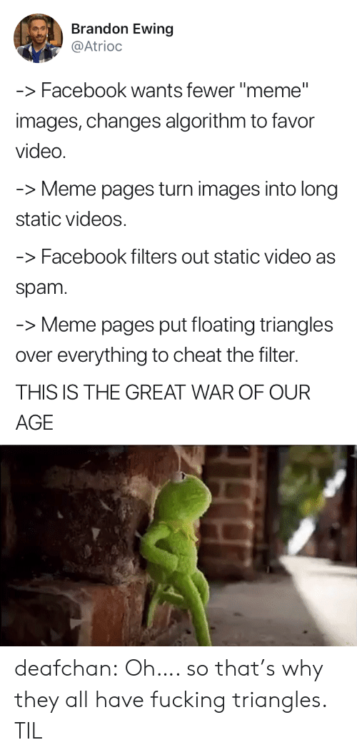 "meme pages: Brandon Ewing  @Atrioc  -Facebook wants fewer ""meme""  images, changes algorithm to favor  video  Meme pages turn images into long  static videos  -Facebook filters out static video as  spam  -Meme pages put floating triangles  over everything to cheat the filter.  THIS IS THE GREAT WAR OF OUR  AGE deafchan: Oh…. so that's why they all have fucking triangles. TIL"