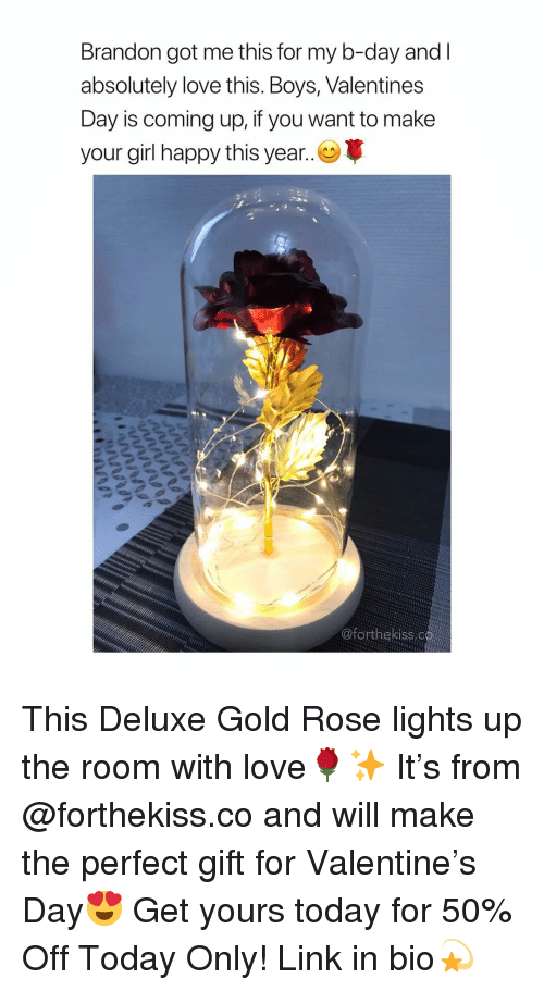 Love, Valentine's Day, and Girl: Brandon got me this for my b-day and  absolutely love this. Boys, Valentines  Day is coming up, if you want to make  your girl happy this year. This Deluxe Gold Rose lights up the room with love🌹✨ It's from @forthekiss.co and will make the perfect gift for Valentine's Day😍 Get yours today for 50% Off Today Only! Link in bio💫