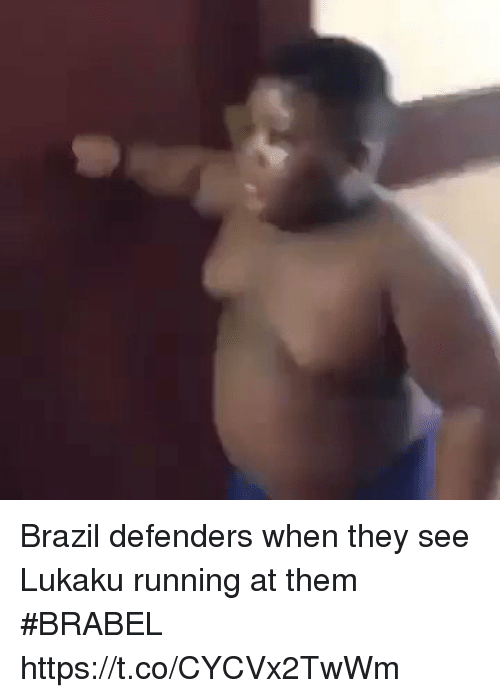 Soccer, Brazil, and Running: Brazil defenders when they see Lukaku running at them   #BRABEL https://t.co/CYCVx2TwWm