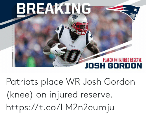 injured: BREAKING  0  PATRIOTS  PLACED ON INJURED RESERVE  JOSH GORDON Patriots place WR Josh Gordon (knee) on injured reserve. https://t.co/LM2n2eumju