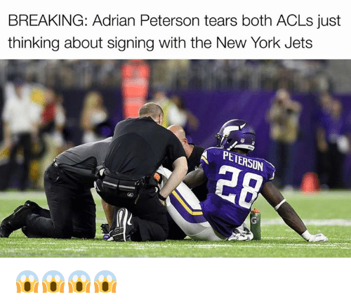 Adrian Peterson, New York, and New York Jets: BREAKING: Adrian Peterson tears both ACLs just  thinking about signing with the New York Jets  A PENERSON 😱😱😱😱
