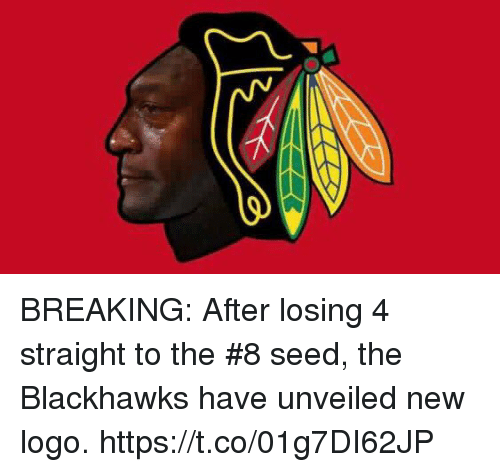 Blackhawks, Logo, and Seed: BREAKING: After losing 4 straight to the #8 seed, the Blackhawks have unveiled new logo. https://t.co/01g7DI62JP