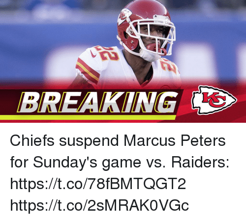 Memes, Chiefs, and Game: BREAKING Chiefs suspend Marcus Peters for Sunday's game vs. Raiders: https://t.co/78fBMTQGT2 https://t.co/2sMRAK0VGc