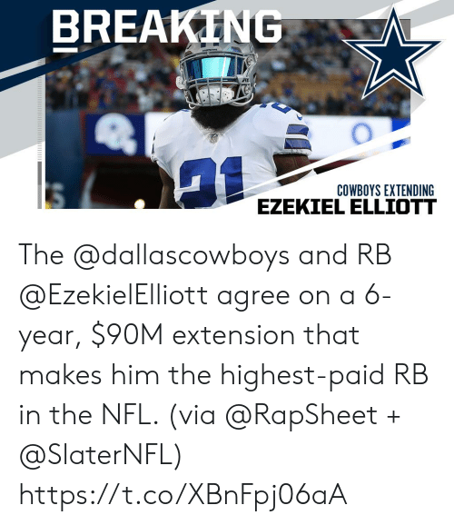 Dallas Cowboys, Memes, and Nfl: BREAKING  COWBOYS EXTENDING  EZEKIEL ELLIOTT The @dallascowboys and RB @EzekielElliott agree on a 6-year, $90M extension that makes him the highest-paid RB in the NFL. (via @RapSheet + @SlaterNFL) https://t.co/XBnFpj06aA