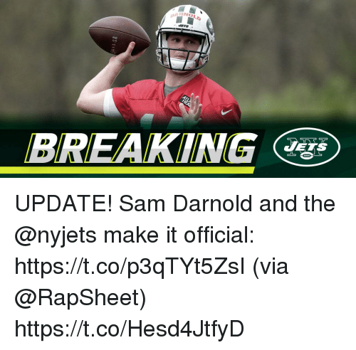 Memes, Jets, and 🤖: BREAKING  JETS UPDATE! Sam Darnold and the @nyjets make it official: https://t.co/p3qTYt5ZsI (via @RapSheet) https://t.co/Hesd4JtfyD