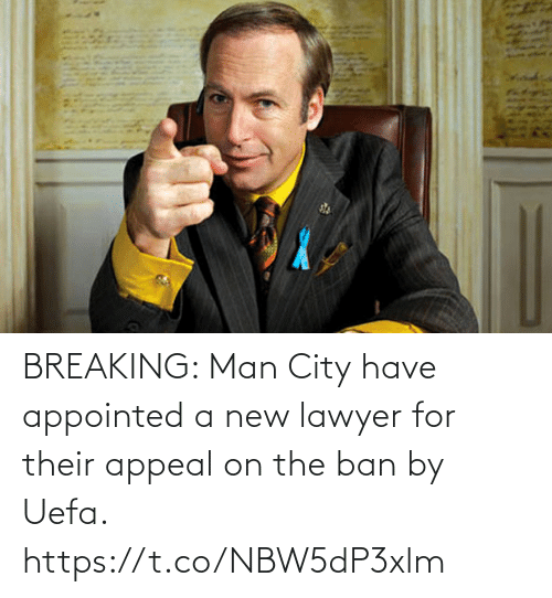 uefa: BREAKING: Man City have appointed a new lawyer for their appeal on the ban by Uefa. https://t.co/NBW5dP3xlm