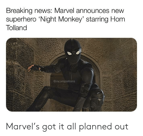 Monkey: Breaking news: Marvel announces new  superhero 'Night Monkey' starring Hom  Tolland  @incompletions Marvel's got it all planned out