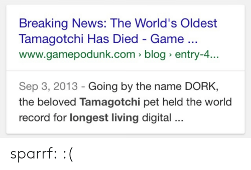 Worlds Oldest: Breaking News: The World's Oldest  Tamagotchi Has Died - Game  www.gamepodunk.com > blog entry-4.  Sep 3, 2013 - Going by the name DORK,  the beloved Tamagotchi pet held the world  record for longest living digital sparrf: :(