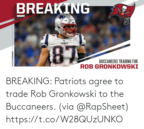 Patriotic: BREAKING: Patriots agree to trade Rob Gronkowski to the Buccaneers. (via @RapSheet) https://t.co/W28QUzUNKO