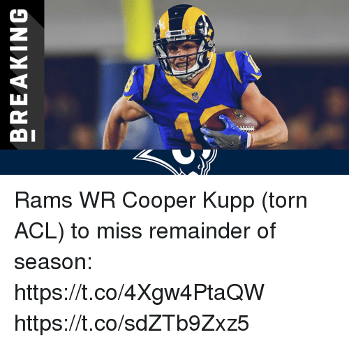 acl: BREAKING Rams WR Cooper Kupp (torn ACL) to miss remainder of season: https://t.co/4Xgw4PtaQW https://t.co/sdZTb9Zxz5