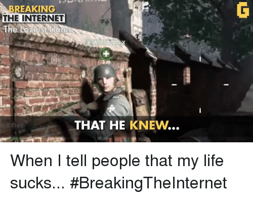 Life Sucking: BREAKING  THE INTERNET  The Laziest  Lamma  THAT HE KNEWN  ifles When I tell people that my life sucks... #BreakingTheInternet