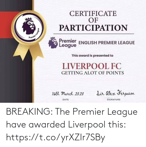 Premier League: BREAKING: The Premier League have awarded Liverpool this: https://t.co/yrXZIr7SBy