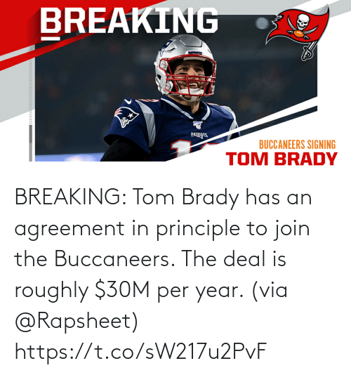 brady: BREAKING: Tom Brady has an agreement in principle to join the Buccaneers. The deal is roughly $30M per year. (via @Rapsheet) https://t.co/sW217u2PvF