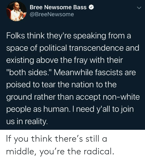 """White People, Space, and White: Bree Newsome Bass  @BreeNewsome  Folks think they're speaking froma  space of political transcendence and  existing above the fray with their  """"both sides."""" Meanwhile fascists are  11  poised to tear the nation to the  ground rather than accept non-white  people as human. I need y'all to join  us in reality. If you think there's still a middle, you're the radical."""