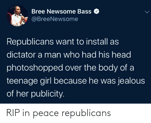 Blackpeopletwitter, Funny, and Head: Bree Newsome Bass  @BreeNewsome  Republicans want to install as  dictator a man who had his head  photoshopped over the body of a  teenage girl because he was jealous  of her publicity. RIP in peace republicans