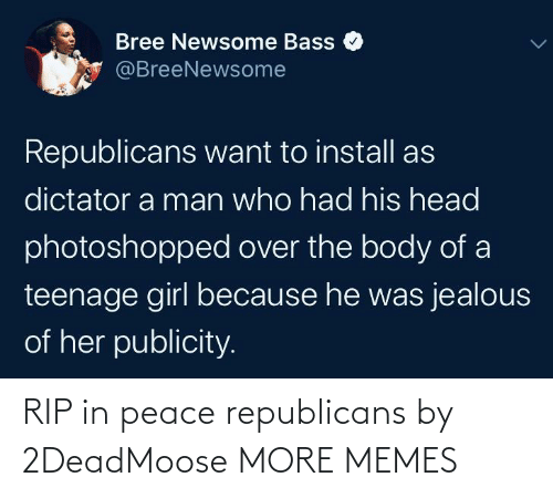 Dank, Head, and Jealous: Bree Newsome Bass  @BreeNewsome  Republicans want to install as  dictator a man who had his head  photoshopped over the body of a  teenage girl because he was jealous  of her publicity. RIP in peace republicans by 2DeadMoose MORE MEMES
