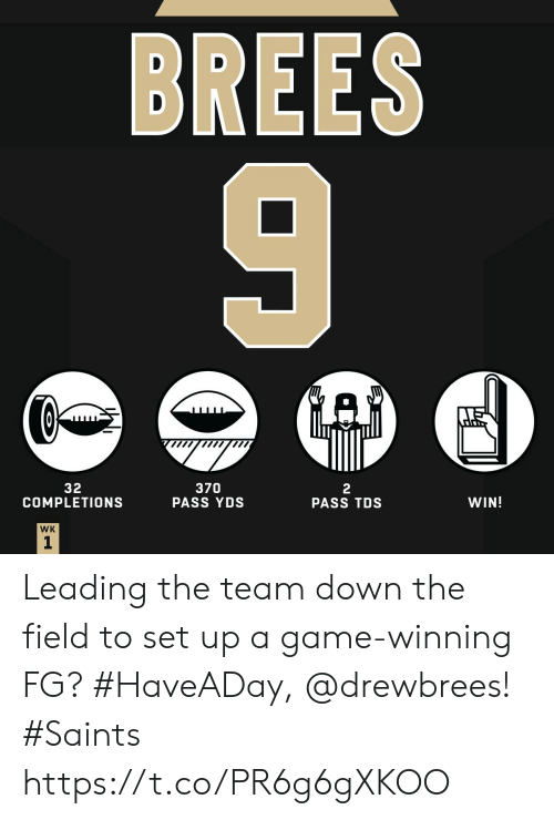 Memes, New Orleans Saints, and Game: BREES  32  COMPLETIONS  370  PASS YDS  2  PASS TDS  WIN!  WK  1 Leading the team down the field to set up a game-winning FG?  #HaveADay, @drewbrees! #Saints https://t.co/PR6g6gXKOO