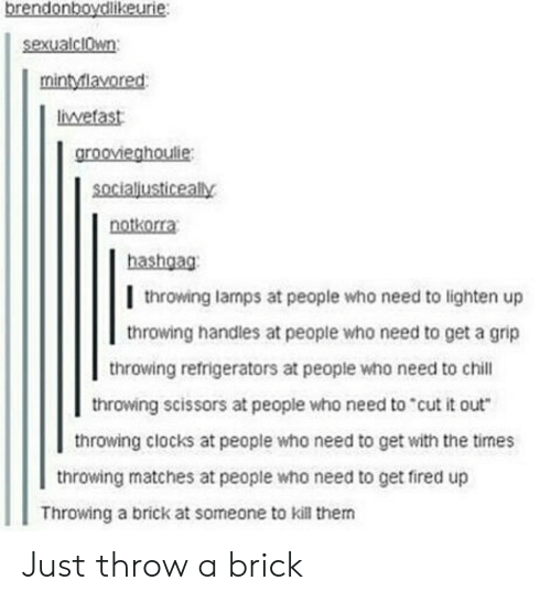 """Chill, Who, and Brick: brendonboydlikeurie:  sexualclwn  mintylavored  liwetast  groovieghoulie:  socialjusticeally  notkorra  hashgag:  l throwing lamps at people who need to lighten up  throwing handles at people who need to get a grip  throwing refrigerators at people who need to chill  throwing scissors at people who need to""""cut it out  throwing clocks at people who need to get with the times  throwing matches at people who need to get fired up  Throwing a brick at someone to kill them Just throw a brick"""