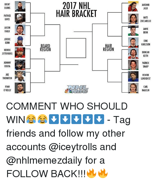 Memes, 🤖, and Sharp: BRENT  BURNS  PATRICK  JUSTIN  FAULK  JORDIE  BENN  HENRIK  ZETTERBERG  JOHNNY  ODUYA  THORNTON  RYAN  O'REILLY  REGION  2017 NHL  HAIR BRACKET  AROMIR  JAGR  MATS  ZUCCARELLO  JAMIE  BENN  KARLSSON  DUNCAN  KEITH  PATRICK  SHARP  HENRIK  LUNDQVIST  CARL  HAGELIN COMMENT WHO SHOULD WIN😂😂⬇⬇⬇⬇⬇ - Tag friends and follow my other accounts @iceytrolls and @nhlmemezdaily for a FOLLOW BACK!!!🔥🔥