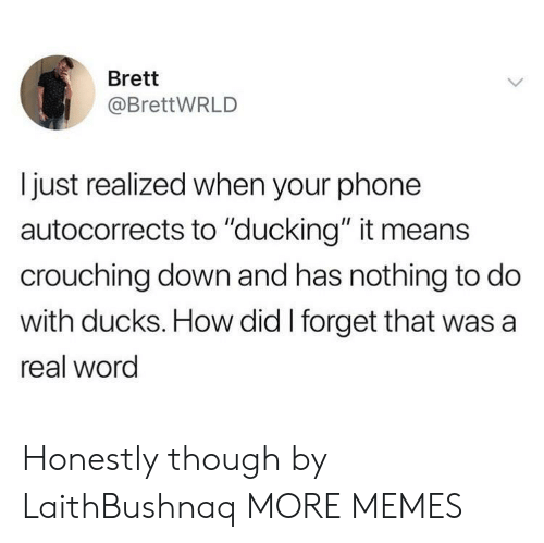 """Dank, Memes, and Phone: Brett  @BrettWRLD  I just realized when your phone  autocorrects to """"ducking"""" it means  crouching down and has nothing to do  with ducks. How did I forget that was a  real word Honestly though by LaithBushnaq MORE MEMES"""