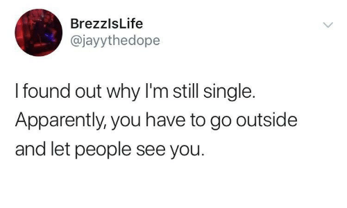 go outside: BrezzlsLife  @jayythedope  I found out why I'm still single.  Apparently, you have to go outside  and let people see you.