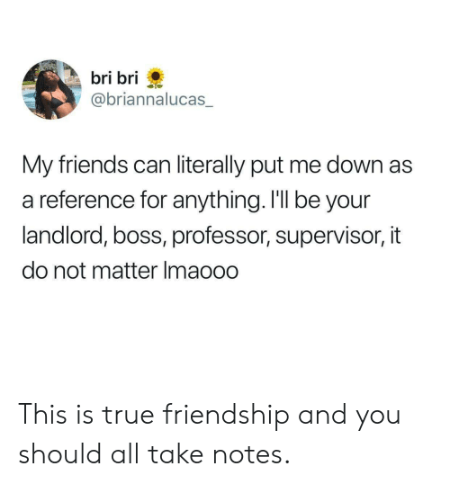 true friendship: bri bri  @briannalucas  My friends can literally put me down as  a reference for anything. I'll be your  landlord, boss, professor, supervisor, it  do not matter Imaooo This is true friendship and you should all take notes.