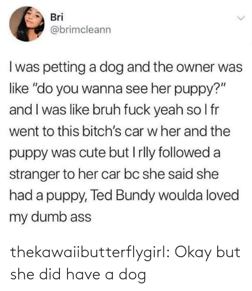 "She Did: Bri  @brimcleann  I was petting a dog and the owner was  like ""do you wanna see her puppy?""  and I was like bruh fuck yeah so I fr  went to this bitch's car w her and the  puppy was cute but I rlly followed a  stranger to her car bc she said she  had a puppy, Ted Bundy woulda loved  my dumb ass thekawaiibutterflygirl:  Okay but she did have a dog"
