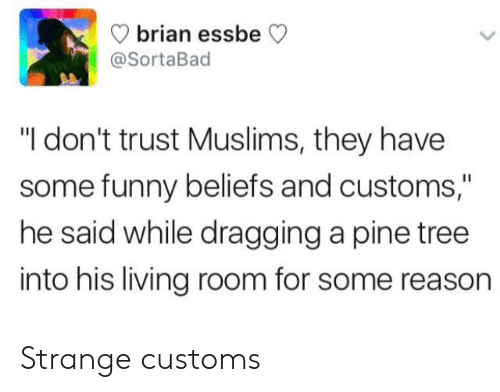 """ess: brian ess  @SortaBad  beCV  """"I don't trust Muslims, they have  some funny beliefs and customs,""""  he said while dragging a pine tree  into his living room for some reason Strange customs"""