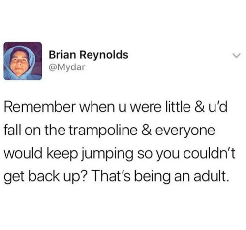 Get Back Up: Brian Reynolds  @Mydar  Remember when u were little & u'd  fall on the trampoline & everyone  would keep jumping so you couldn't  get back up? That's being an adult.