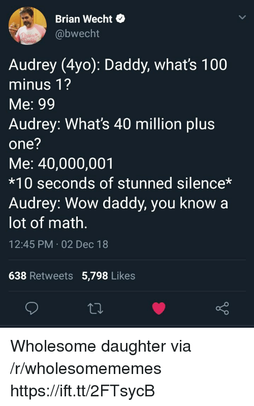 Plu: Brian Wecht*  @bwecht  Audrey (4yo): Daddy, whats 100  minus 1?  Me: 99  Audrey: What's 40 million plu:s  one?  Me: 40,000,001  *10 seconds of stunned silence*  Audrey: Wow daddy, you know a  lot of math  12:45 PM 02 Dec 18  638 Retweets 5,798 Likes Wholesome daughter via /r/wholesomememes https://ift.tt/2FTsycB