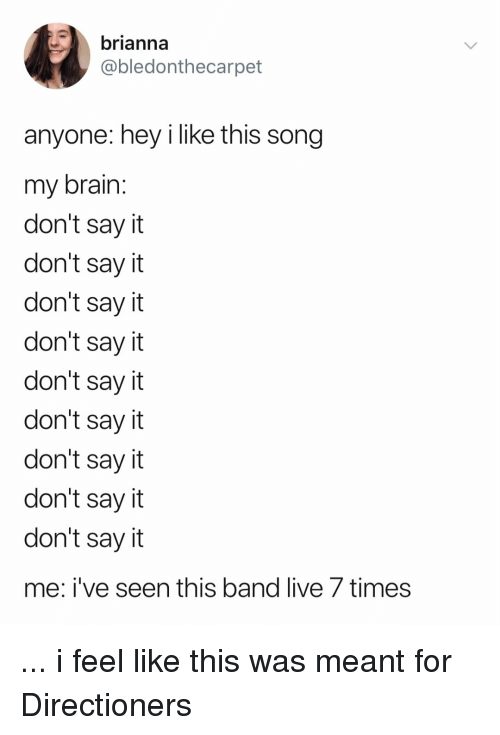 Say It, Live, and Relatable: brianna  @bledonthecarpet  anyone: hey i like this song  my brailn  don't sayit  don't sayit  don't say it  don't sayit  don't say it  don't say it  don't say it  don't say it  don't say it  me: i've seen this band live 7 times ... i feel like this was meant for Directioners