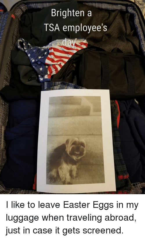 Easter, Luggage, and Tsa: Brighten a  TSA employee's <p>I like to leave Easter Eggs in my luggage when traveling abroad, just in case it gets screened.</p>