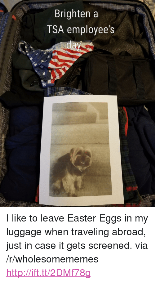 "Easter, Http, and Luggage: Brighten a  TSA employee's <p>I like to leave Easter Eggs in my luggage when traveling abroad, just in case it gets screened. via /r/wholesomememes <a href=""http://ift.tt/2DMf78g"">http://ift.tt/2DMf78g</a></p>"
