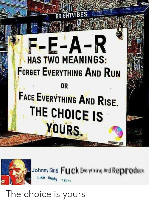 The Choice: BRIGHTVIBES  F-E-A-R  HAS TWO MEANINGS:  FORGET EVERYTHING AND RUN  FACE EVERYTHING AND RISE.  THE CHOICE IS  YOURS  OR  BRIGHTVIBES  Johnny Sins Fuck Everything And Reprodw  Like Reply 16n The choice is yours