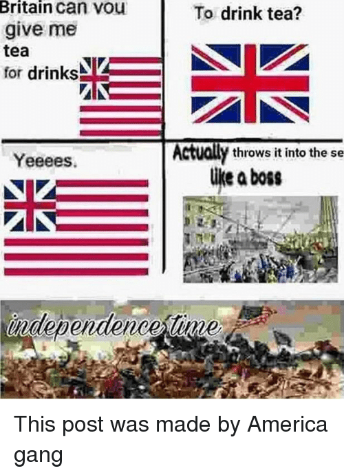 Drink Tea: Britain can vou  give me  tea  for drinks  To drink tea?  Actually throws it into the se  Yeeees.  like aboss  independence tinme This post was made by America gang