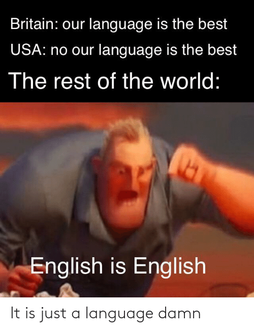 English: Britain: our language is the best  USA: no our language is the best  The rest of the world:  English is English It is just a language damn