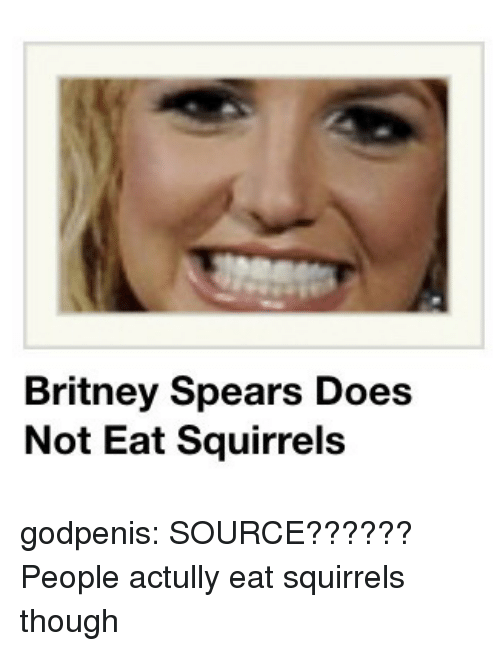 Britney Spears, Target, and Tumblr: Britney Spears Does  Not Eat Squirrels godpenis:  SOURCE??????   People actully eat squirrels though