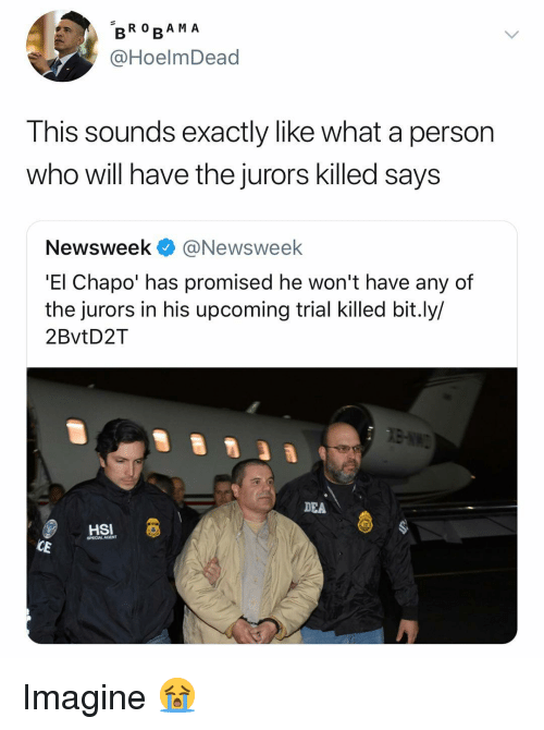 Chapo: BRO RA M A  @HoelmDead  Ihis sounds exactly like what a person  who will have the jurors killed says  Newsweek @Newsweek  'El Chapo' has promised he won't have any of  the jurors in his upcoming trial killed bit.ly/  2BvtD2T  DEA  HSI  SPECIALAGENT  CE Imagine 😭