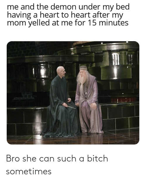 she: Bro she can such a bitch sometimes