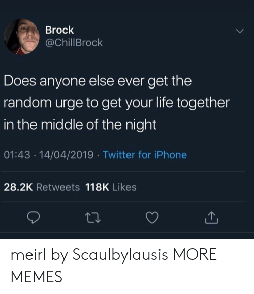 Dank, Iphone, and Life: Brock  @ChillBrock  Does anyone else ever get the  random urge to get your life together  in the middle of the night  01:43 14/04/2019 Twitter for iPhone  28.2K Retweets 118K Likes meirl by Scaulbylausis MORE MEMES