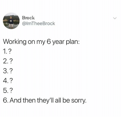 Dank, Sorry, and Brock: Brock  @lmTheeBrock  Working on my 6 year plan  1.?  2.?  3.?  4.?  5.?  6. And then they'll all be sorry.