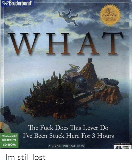 lever: Broderbund  BEST  SELLIXG  CD RONM  WHAT  The Fuck Does This Lever Do  Windows3 I've Been Stuck Here For 3 Hours  Windows 95  CD-ROM  A CYAN PRODUCTION Im still lost