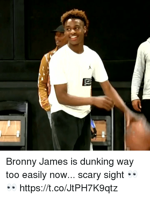 dunking: Bronny James is dunking way too easily now... scary sight 👀👀 https://t.co/JtPH7K9qtz