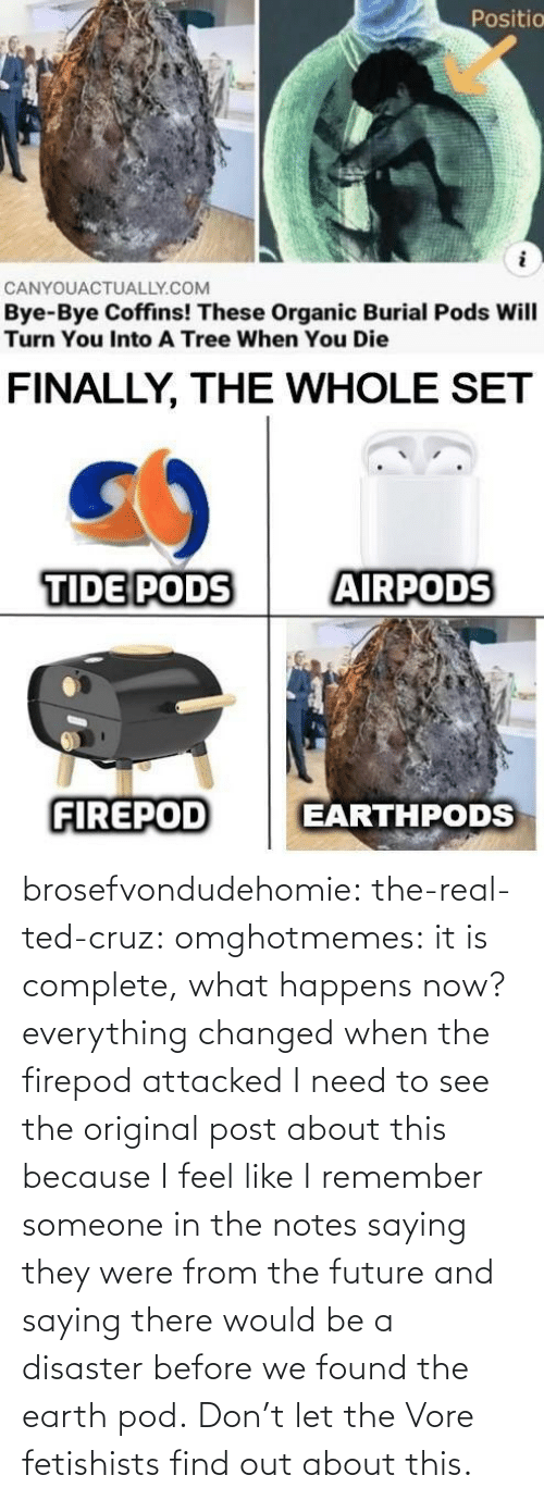 Ted: brosefvondudehomie: the-real-ted-cruz:  omghotmemes: it is complete, what happens now? everything changed when the firepod attacked    I need to see the original post about this because I feel like I remember someone in the notes saying they were from the future and saying there would be a disaster before we found the earth pod.    Don't let the Vore fetishists find out about this.