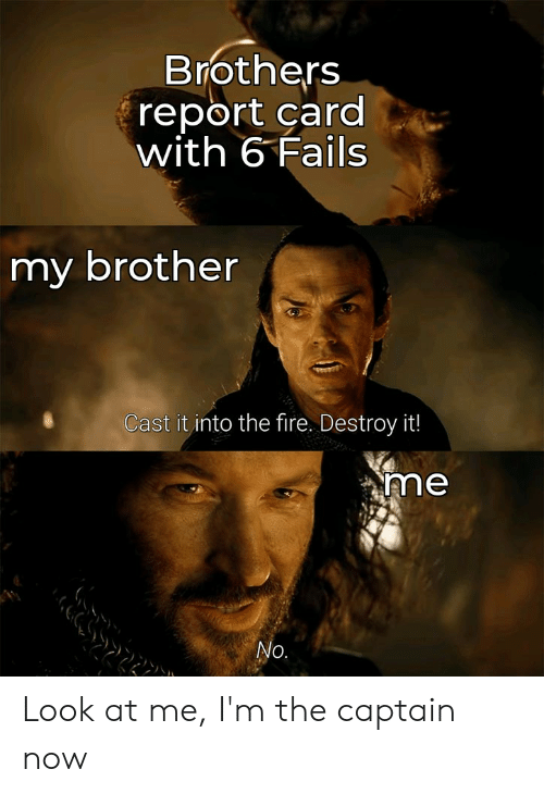 Fire, Lord of the Rings, and Brother: Brothers  report card  with 6 Fails  my brother  Cast it into the fire. Destroy it!  me  No. Look at me, I'm the captain now