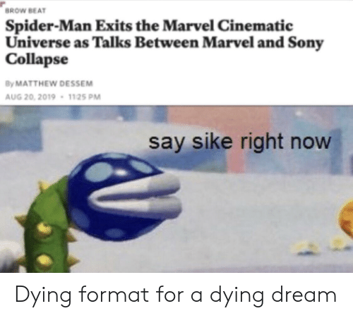 Sony, Spider, and SpiderMan: 'BROW BEAT  Spider-Man Exits the Marvel Cinematic  Universe as Talks Between Marvel and Sony  Collapse  By MATTHEW DESSEM  AUG 20, 2019 1125 PM  say sike right now Dying format for a dying dream