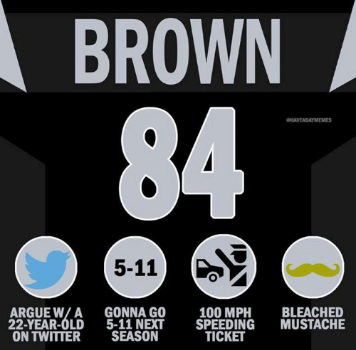 Arguing, Nfl, and Twitter: BROWN  HAVEADAYMEMES  5-11)  ARGUE W/A GONNA GO  22-YEAR-OLD 5-11 NEXT SPEEDING MUSTACHE  ON TWITTER SEASON  100 MPH BLEACHED  TICKET